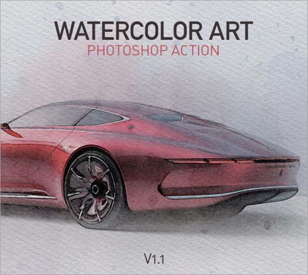 Watercolor Art Photoshop Action Template