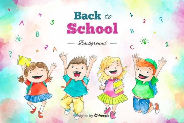 Watercolor Back to School Cartoon Poster