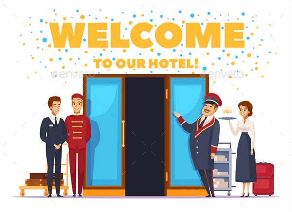 Welcome To Hotel Cartoon Poster Template