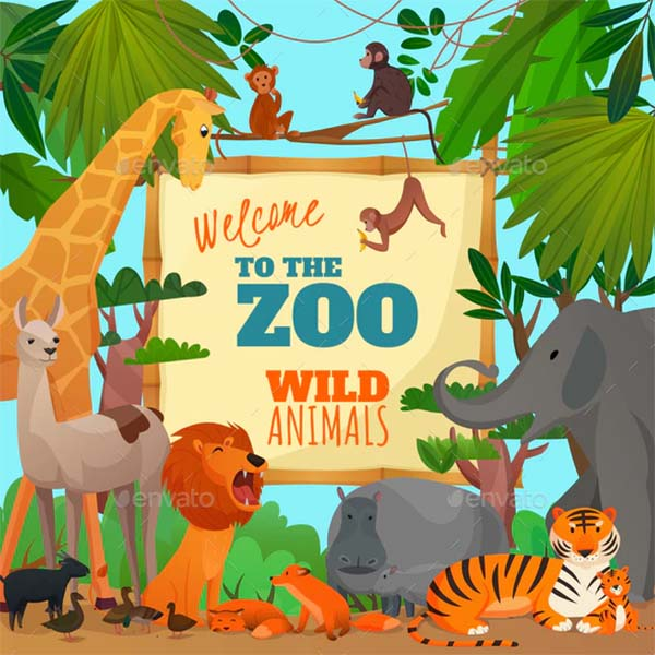 Welcome to Zoo Cartoon Poster Template