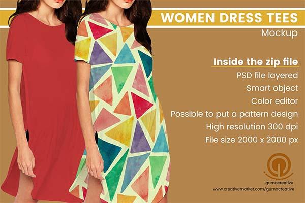 Women Dress Tees PSD Mockup