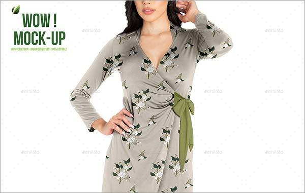 Women Wrap Dress PSD Mock-up