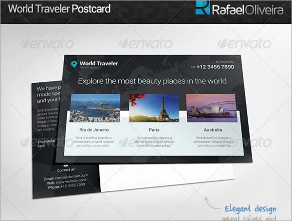 World Traveler Postcard Template