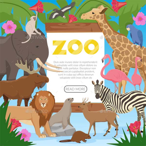 Zoo Cartoon Poster Template