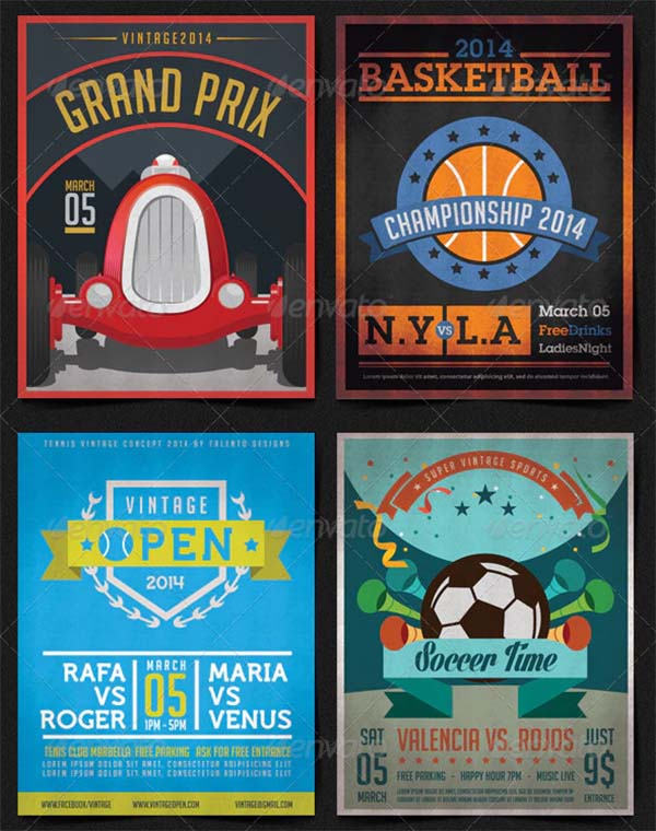 10 Vintage Posters Sports Template