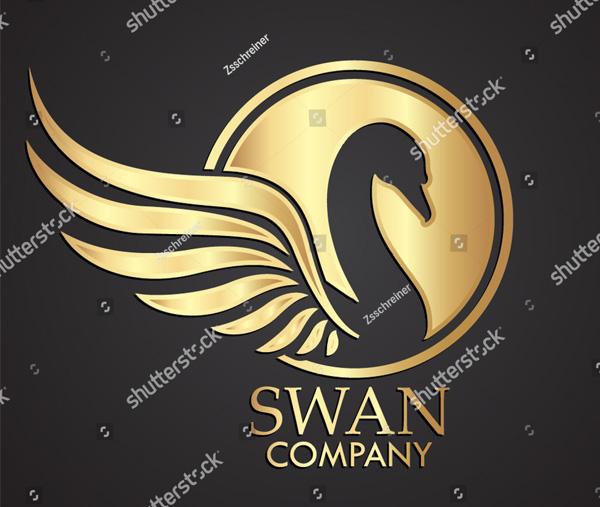 3D Swan Gold Logo Template