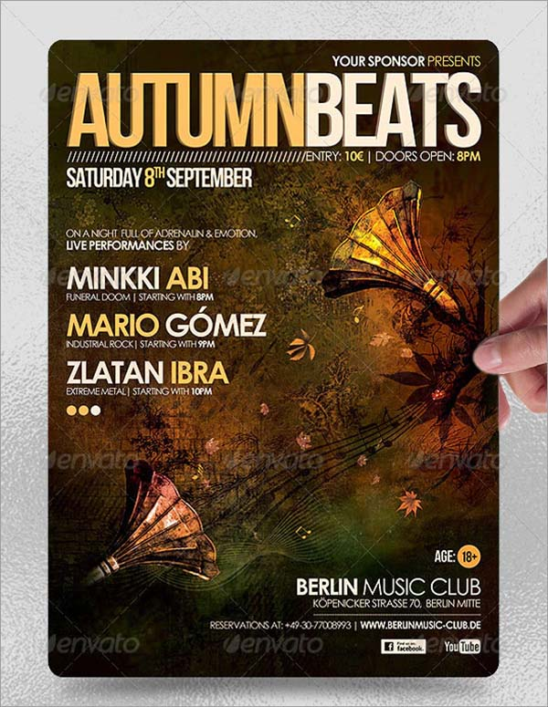 Autumn Beats Poster and Flyer Template