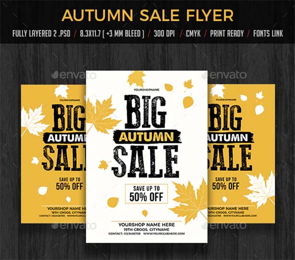 Autumn Fall Sale Flyers Poster Template