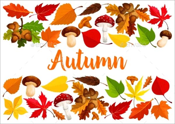 Autumn Falling Leaf Forest Mushrooms Poster