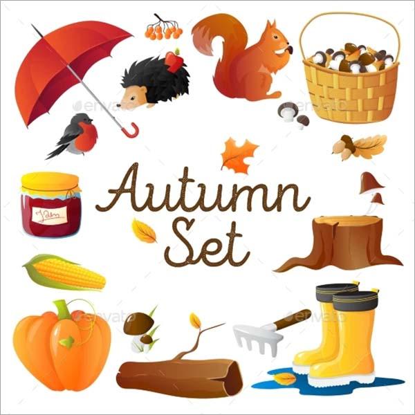 Autumn Icons Set Round Composition Poster