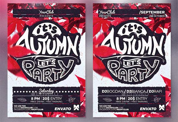 Autumn Party Flyer Poster Template