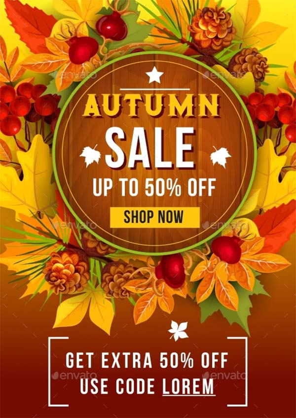 Autumn Sale Discount Vector Poster