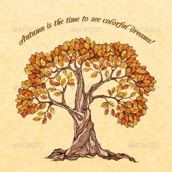 Autumn Tree Poster Template