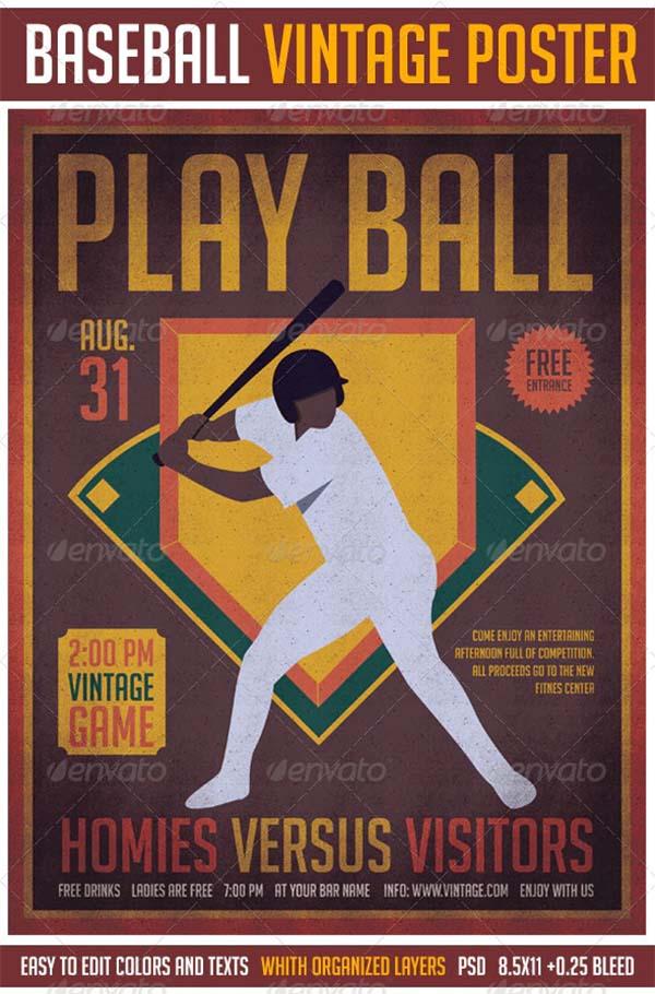 Baseball Vintage Poster Template
