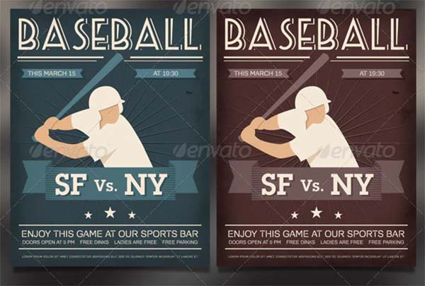 Baseball Vintage Poster and Flyer Template