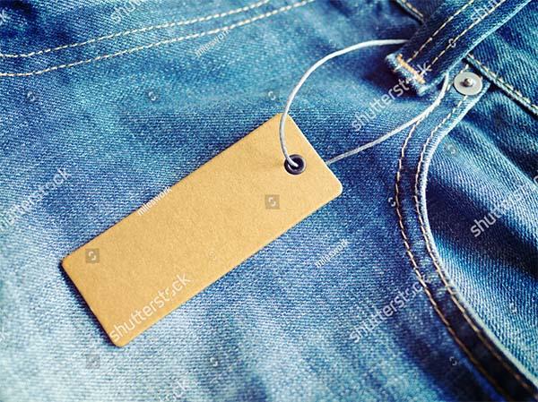 Blue Jeans Label Price Tag Mockup