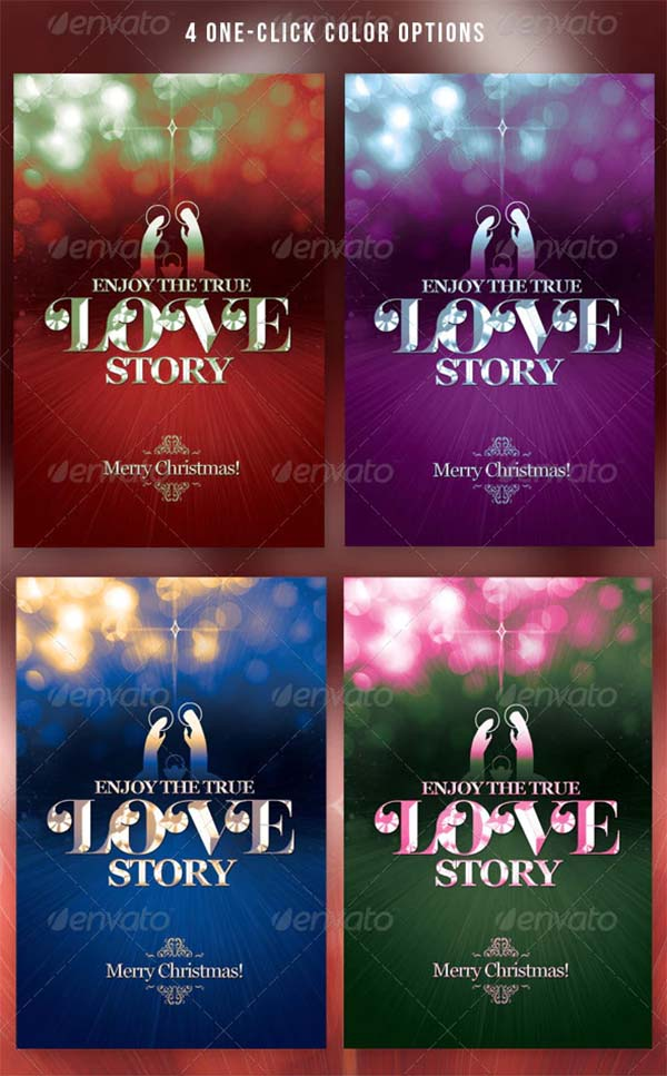 Christmas True Love Story Greeting Card Template