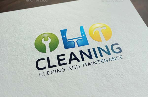 Cleaning Logo PSD Design