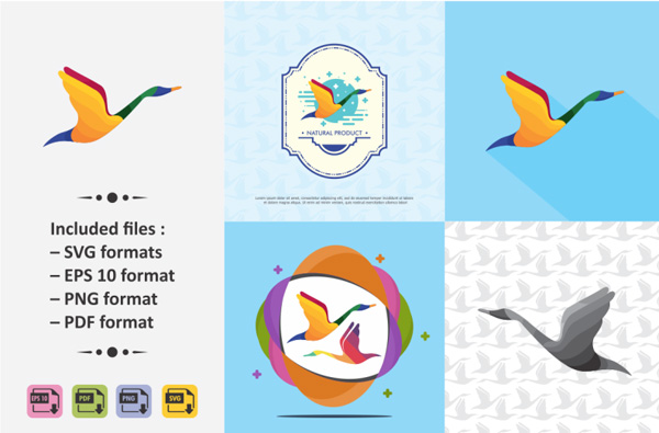 Colorful Swan Logo Template
