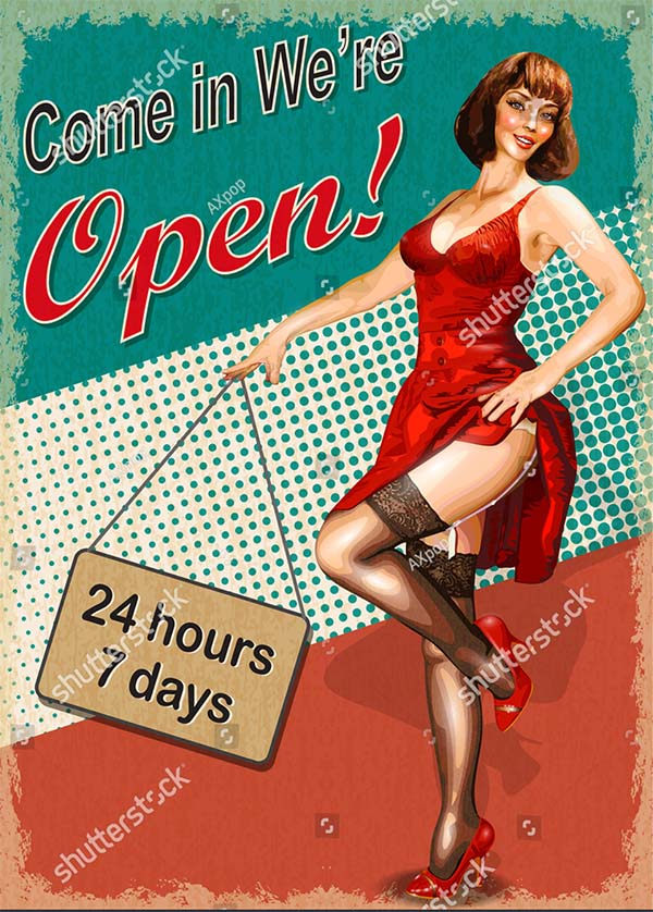 Come in Vintage Poster Template