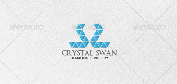 Crystal Swan Logo Template