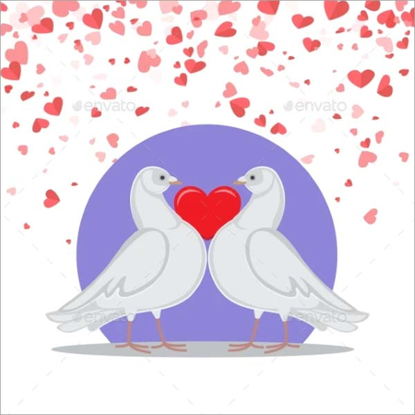 Doves Love Heart Valentine Greeting Card