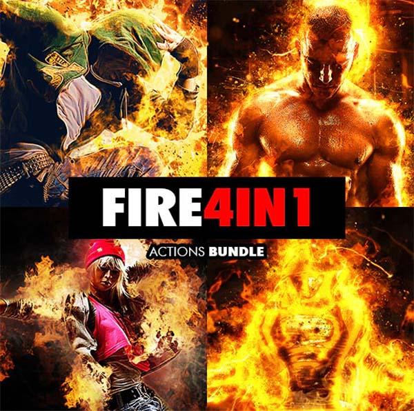Fire Photoshop Actions Bundle