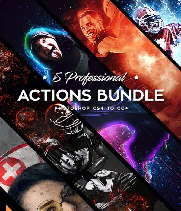 Five Photoshop, ATN, ABN Actions Bundle