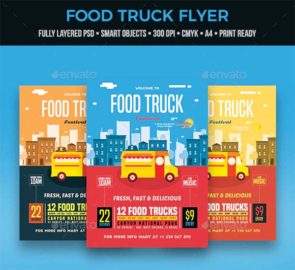 Food Truck Colorful Flyer Template