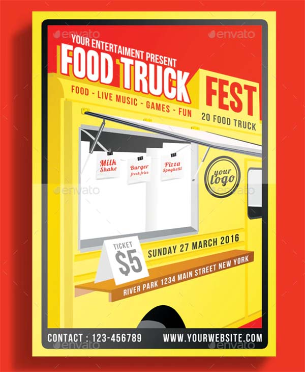 Food Truck Festival Flyer PSD Design