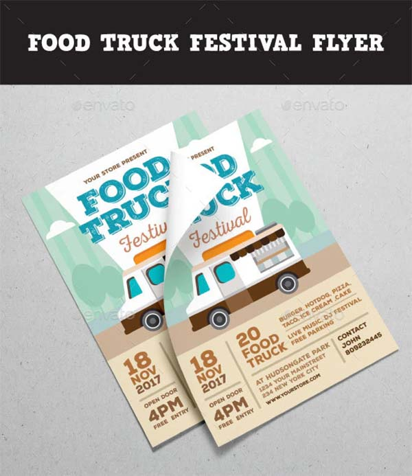 Food Truck Festival Flyer PSD Template