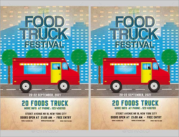 Food Truck Festival PSD Flyer Template