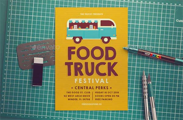 Food Truck Flyer PSD Template