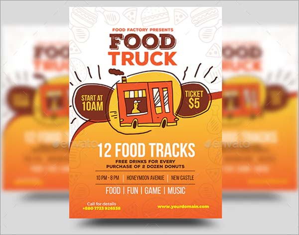 Food Truck Flyer Vector Template