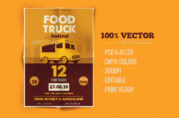 Food Truck PSD Flyer Template