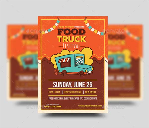 Food Truck Vector Flyer Template