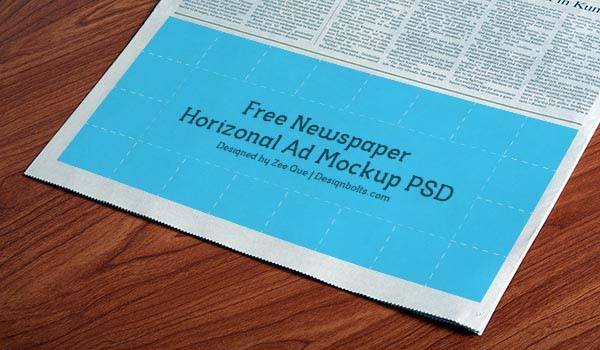 Free Horizontal Newspaper AD PSD Mockup