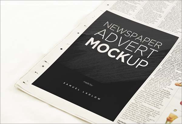 Free Newspaper Advert Mockups