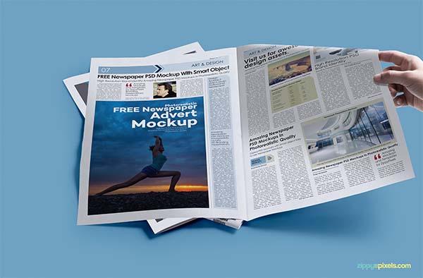 Free PSD Newspaper Print Ad Mockup