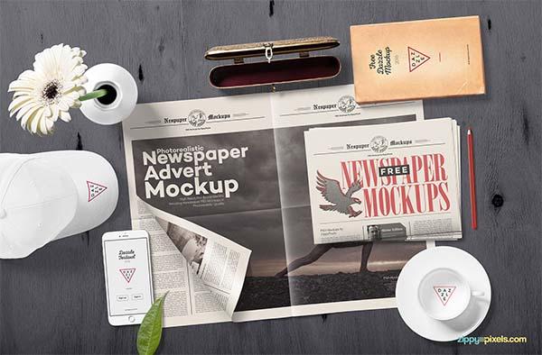 Free PSD Realistic Newspaper Mockup