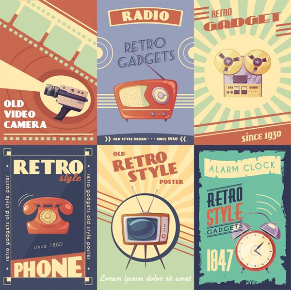 Free PSD Retro Gadgets Cartoon Posters