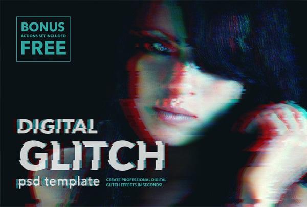 Glitch Cinematic Effect PSD Templates
