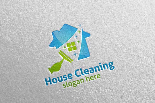 House Cleaning Service Vector Logo Design