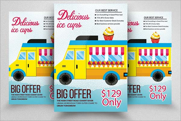 Ice Cream Delivery Truck Flyer Templates