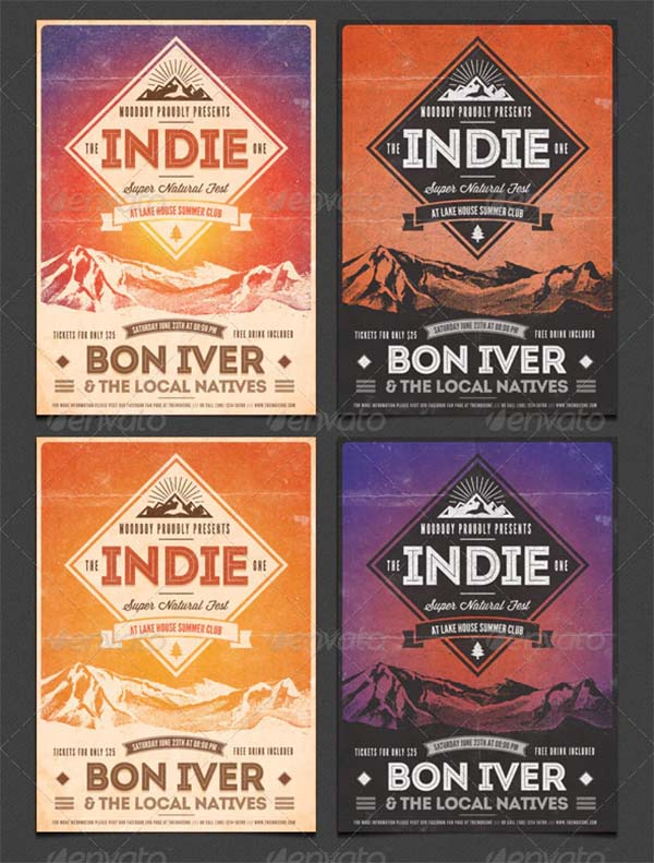 Indie Vintage Flyer and Poster PSD Template