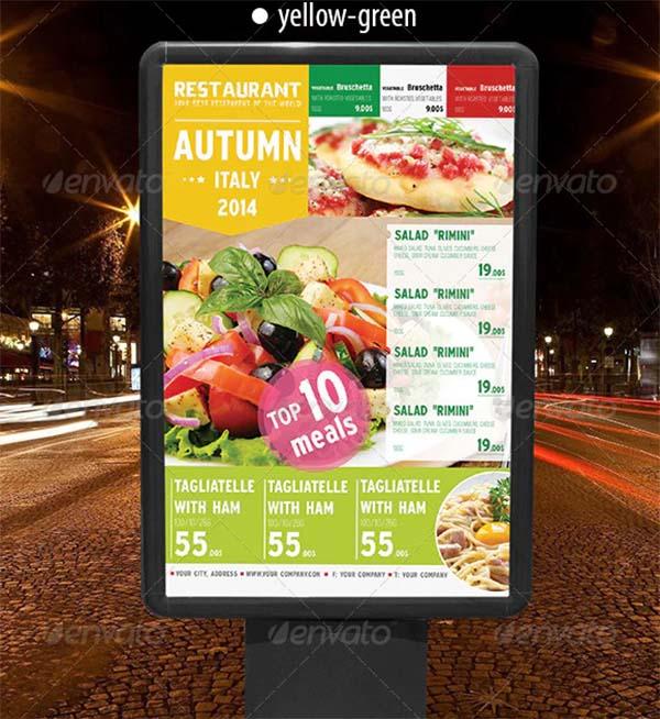 Italian Autumn Menu Poster Template