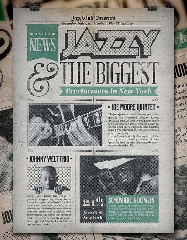 Jazz Vintage Newspaper Poster Template
