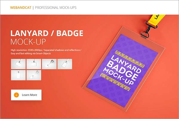 Lanyard Name Tag Badge PSD Mockup