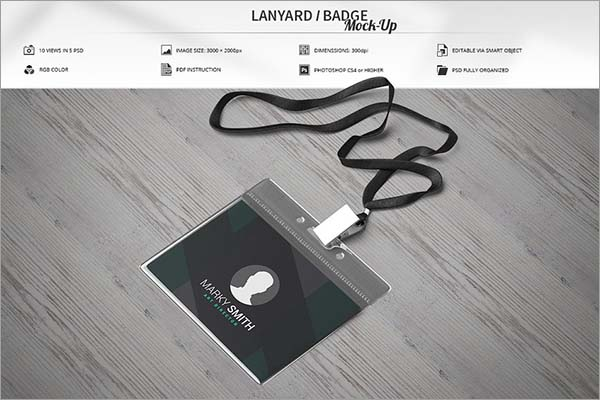 Lanyard PSD Badge Mock-Up