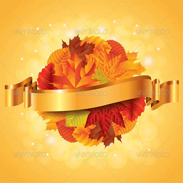 Leaves Sphere and Ribbon Autumn Poster